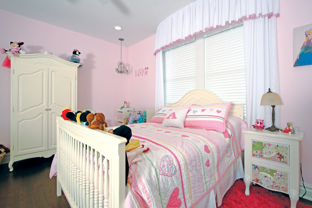 "A pink and white ""princess room"" is perfect for this adorable 4 year old now and later."