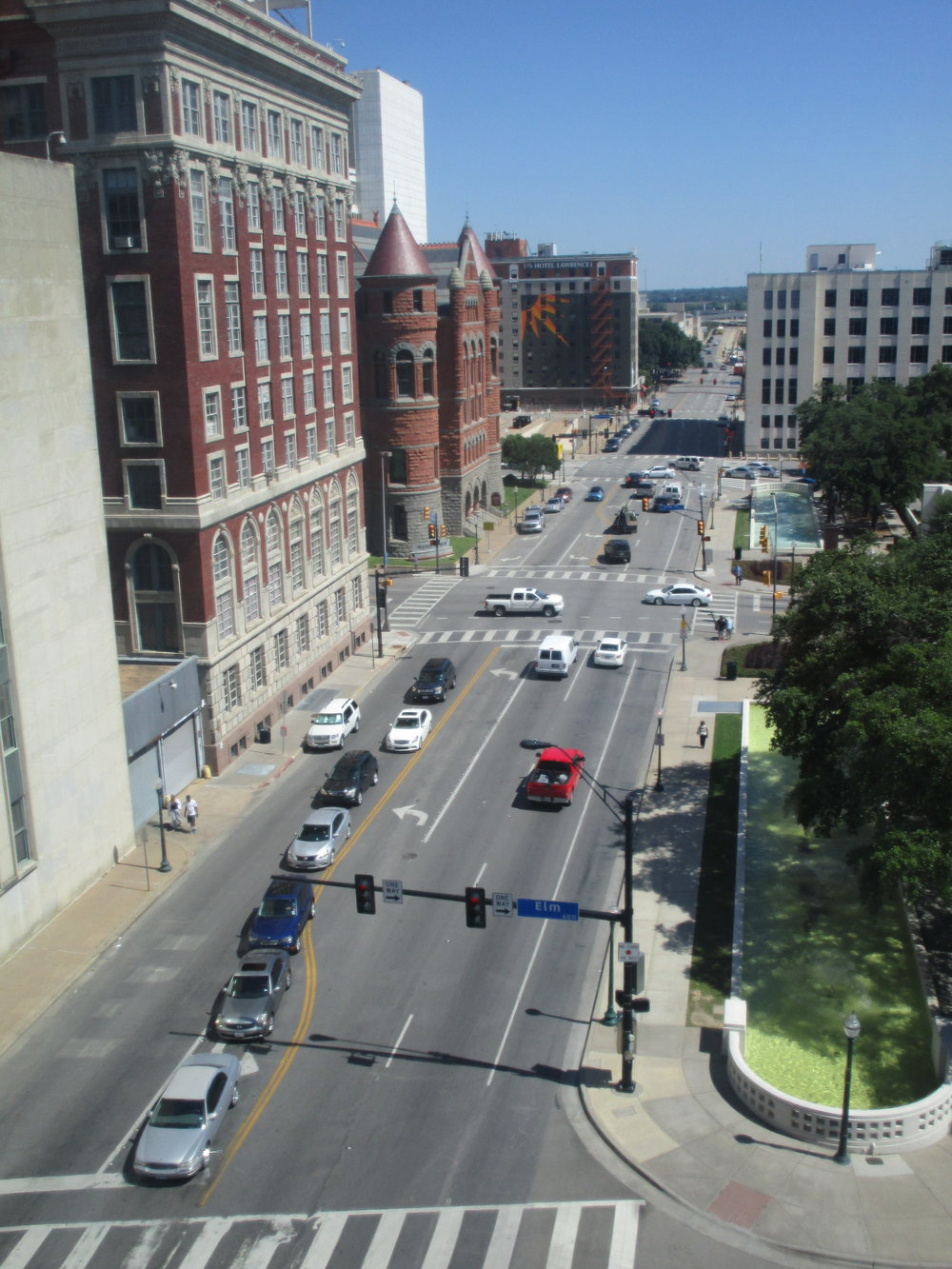 View of Dealey Plaza, where JFK was shot, from the Sixth Floor Museum.