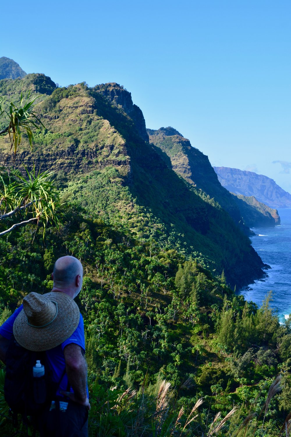 Dave in awe of Na Pali Coast.
