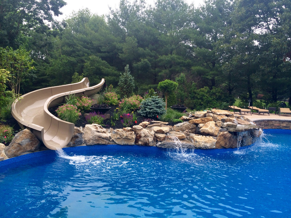 Gold - Water Feature with Pool Metamorphosis Landscape Design