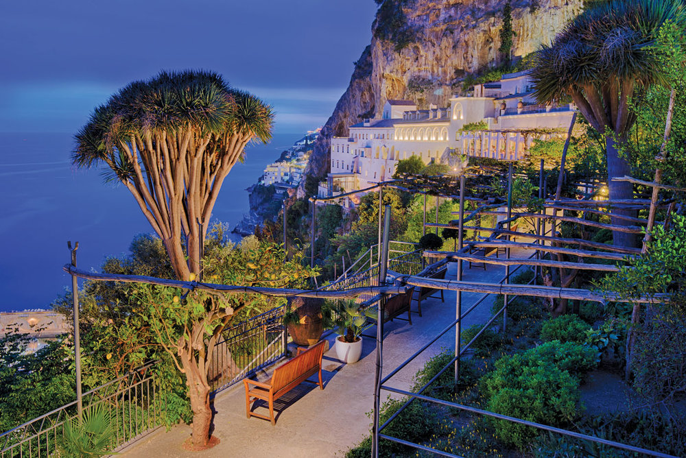 he NH Collection Grand Hotel Convento di Amalfi is perched within the cliff at the edge of the Amalfi Coast.