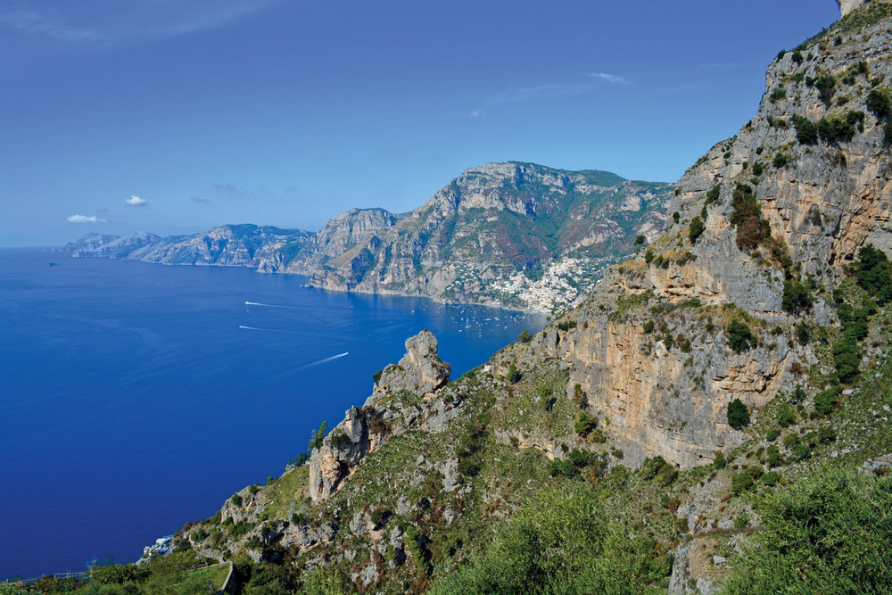 View of Positano  – our destination is in sight.