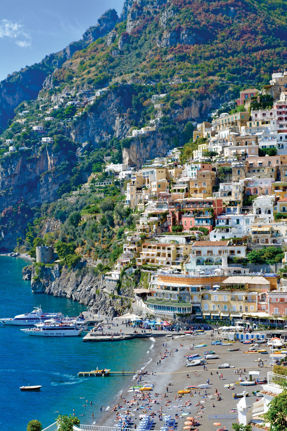 The cliffside village of Positano from our luncheon terrace.