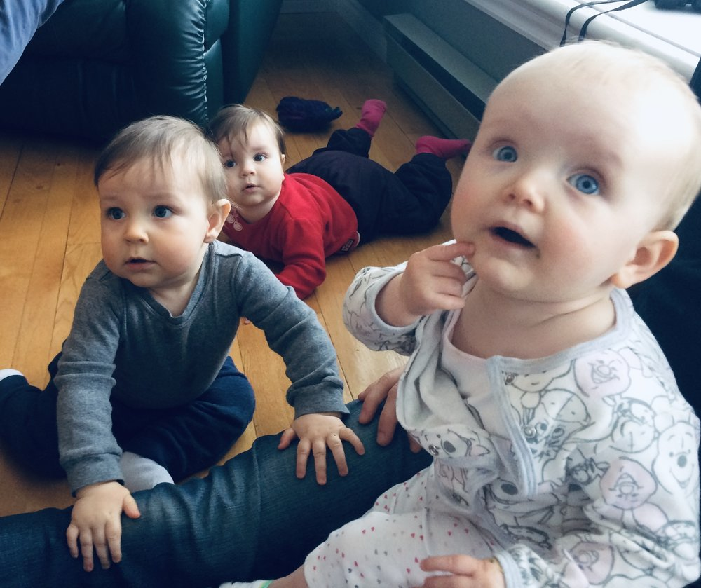 we took a break from opening boxes a few weeks ago to visit our friends with babies! éléonore, right, is a few days younger than benji, and bleuenn in the back there is about a month younger. so fun to watch them wiggle around each other!