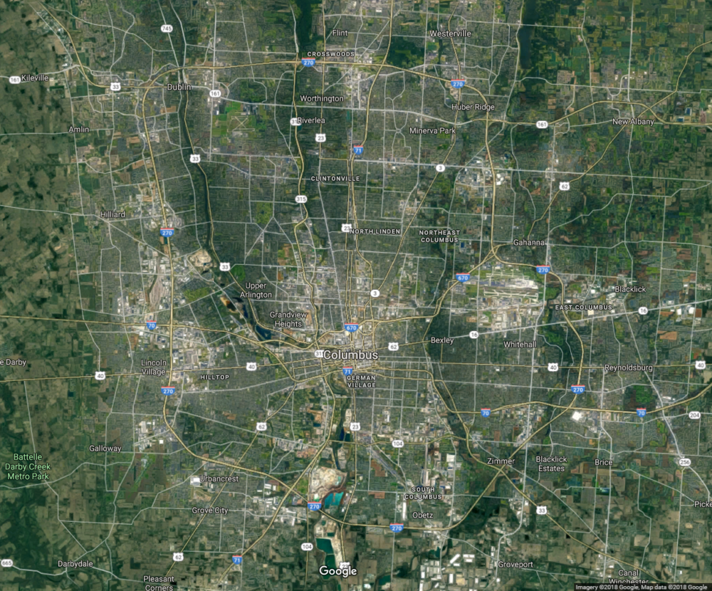 The development in Columbus is not as centralized and is spread out along the outerbelt.