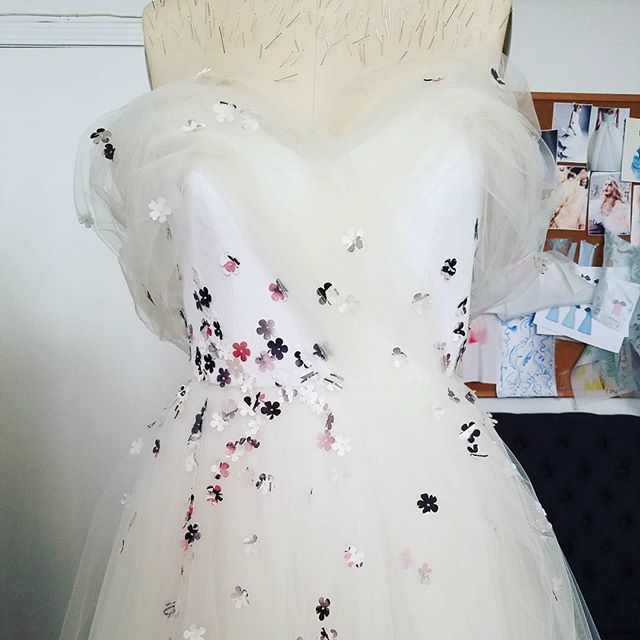 #tbt to making my wedding dress! I don't miss hand sewing all the flowers  #fashion #bridalfashion #handmadebride #pride #weddingdress #wedding