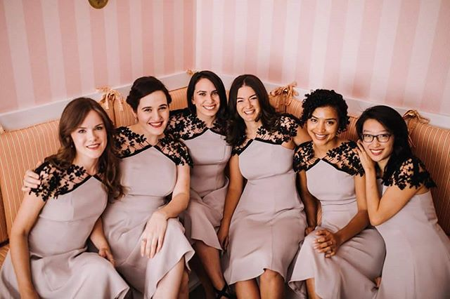 My amazing bridesmaids, all wearing custom Caroline Z. dresses! Making all the bridesmaid dresses was a bit of work, but it was totally worth it to have everyone both beautiful and comfortable. Photo by @a_lovely_photo . . . #nycdesigners #nycfashion #bridalfashion #bridesmaids  #bridesmaidfashion #bridesmaiddresses #dresses #custom #wedding #weddingfashion
