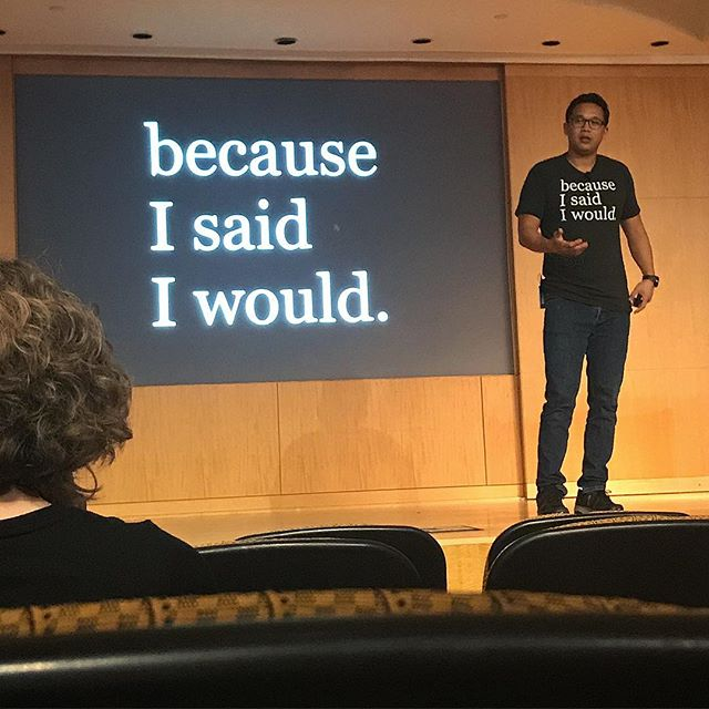 """Just heard a great talk from Alex Sheen about the power of keeping promises and having a purpose. He left us with a great quote by George Bell, """"You can pretend to care, but you can't pretend to show up"""". Thanks @becauseisaidiwould and @georgiastateuniversity"""