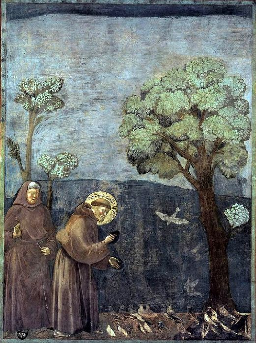 """Sermon to the Birds,"" by Giotto, found in Upper Church of Basilica di San Francesco in Assisi"