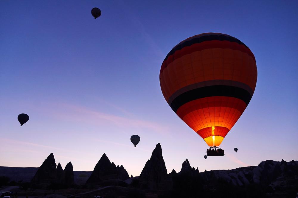 Shining balloon over Cappadocia