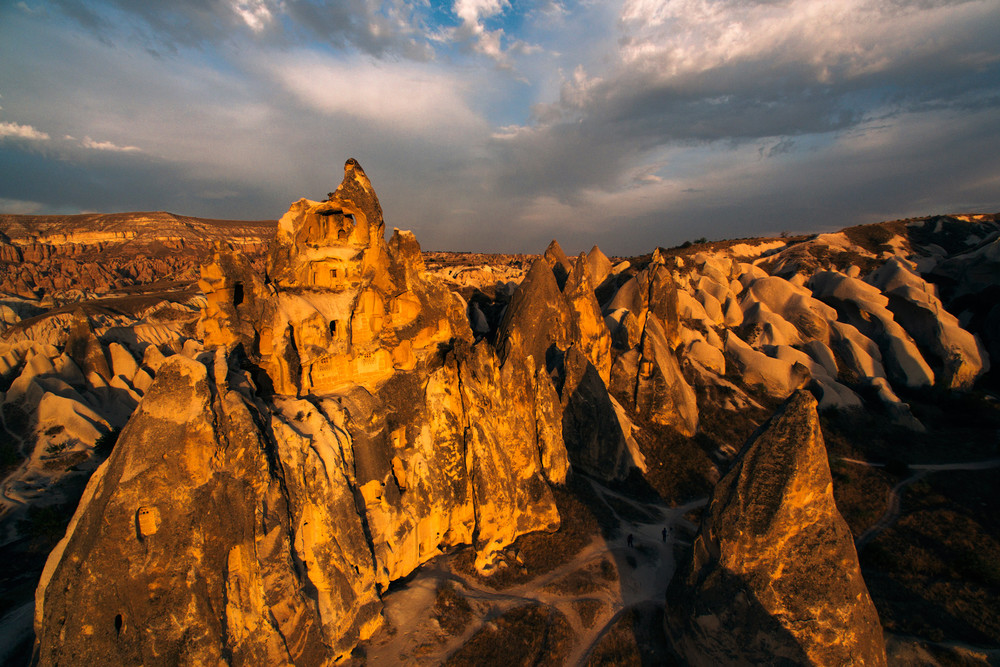 Cappadocia fairy chimneys at sunset