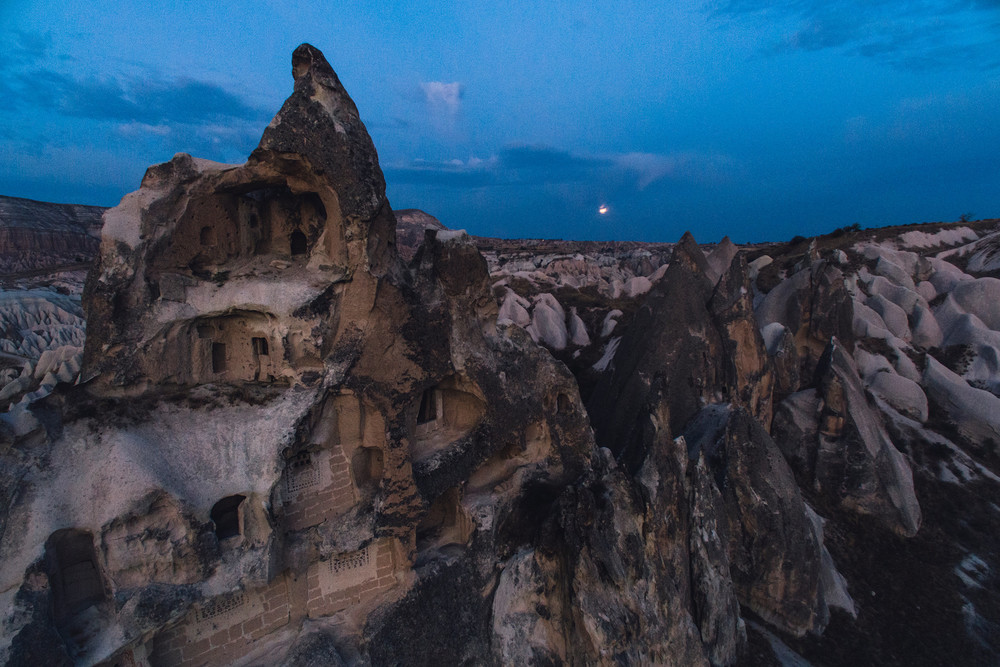Cappadocia fairy chimneys after dark