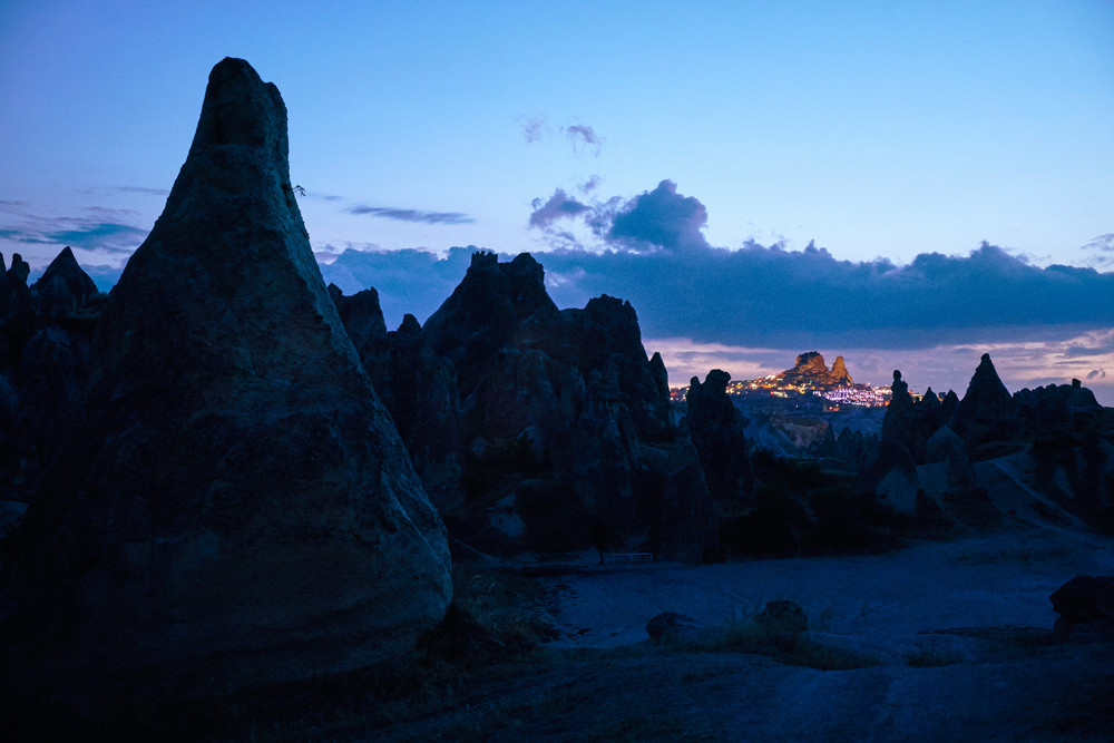 Uchisar at night, Cappadocia