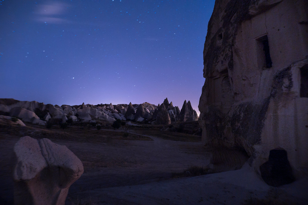 Cappadocia rock formations at night