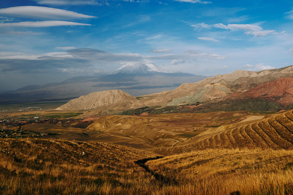 Mount Ararat and fields below