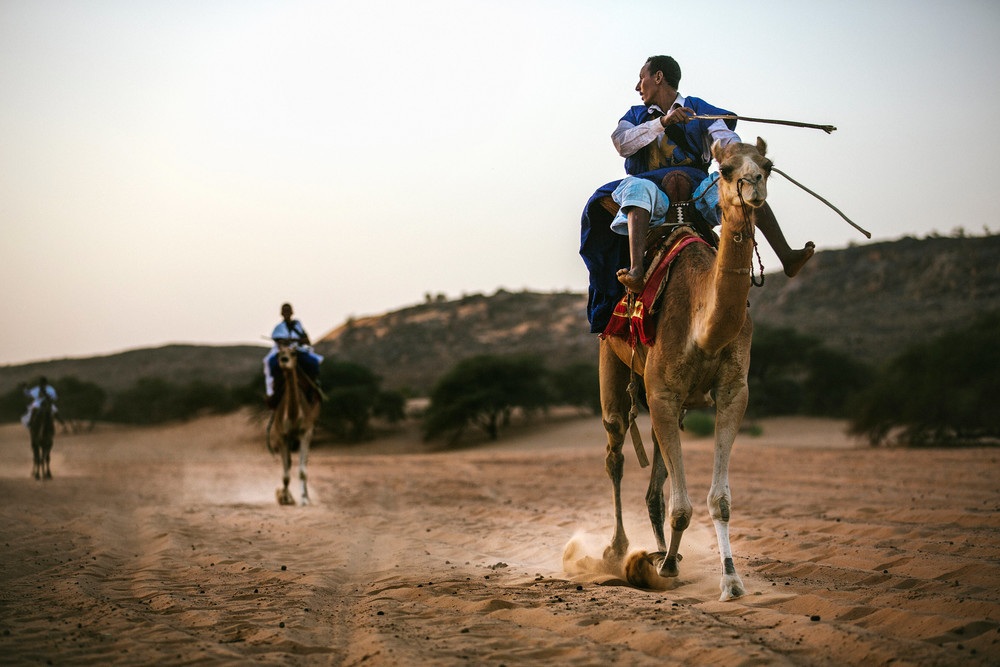 Camel racer turning around
