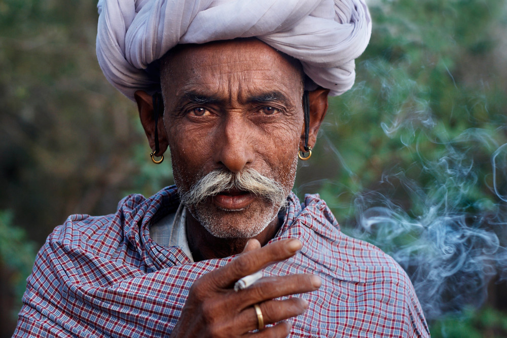 Rajasthani man smoking