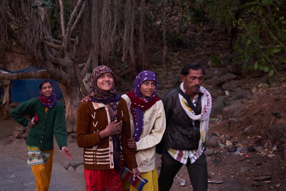 Pilgrims having fun on the way up to Girnar hill