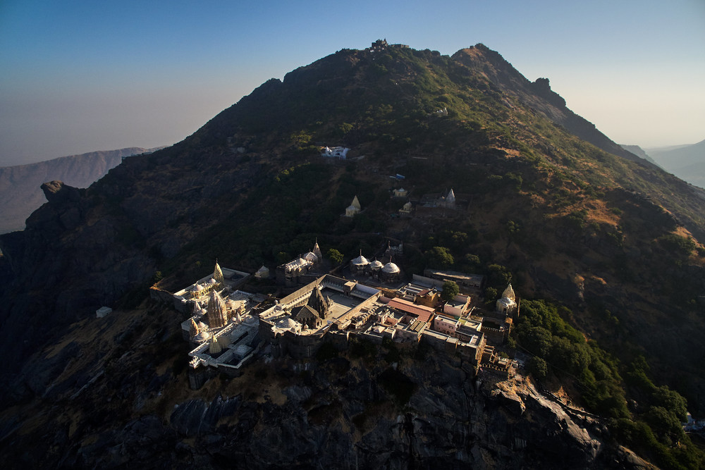 Temples on Girnar hill - aerial view