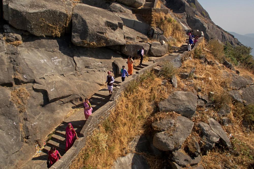 Pilgrims walking up the steps of Girnar hill