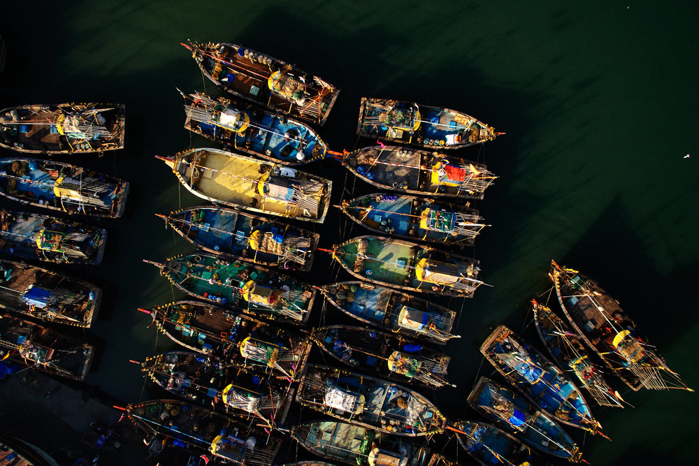 Boats in the harbour in Diu.