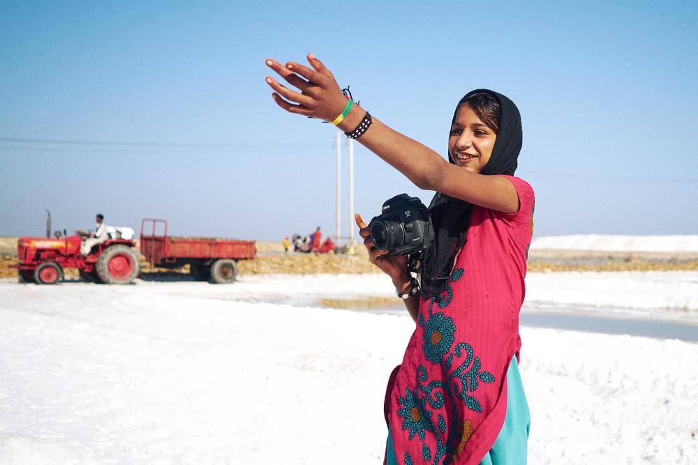 Girl using Deepti's camera