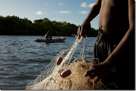 hands with fishing net