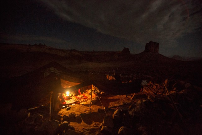 Nomad's tent at night