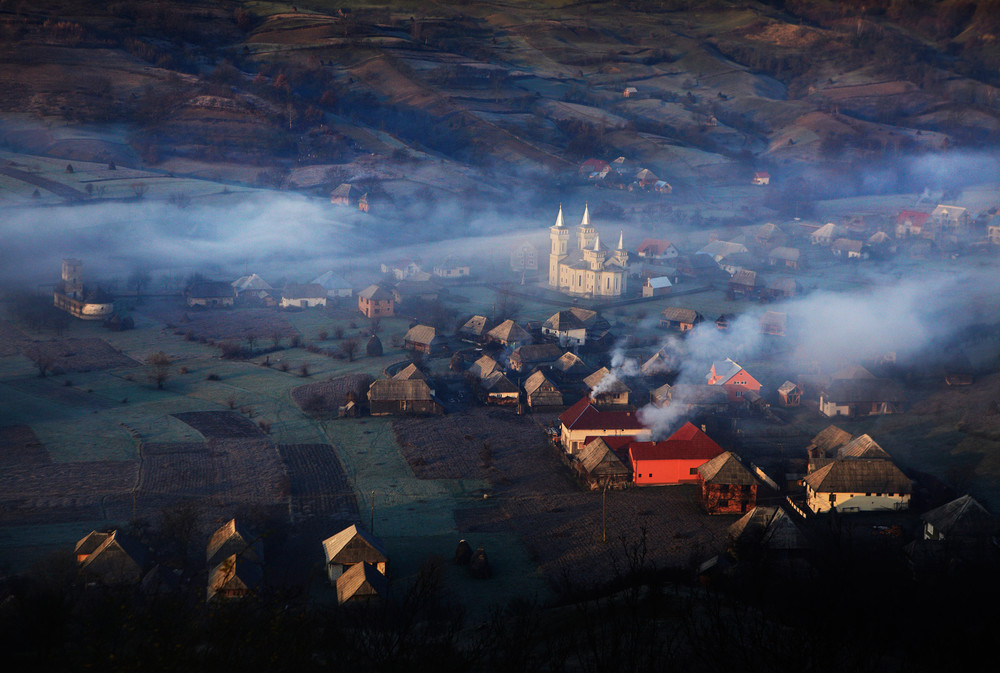 View of a village in Maramures, Romania