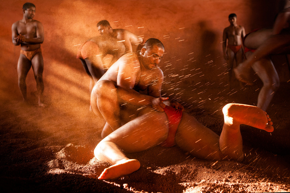 Kushti wrestlers in practice