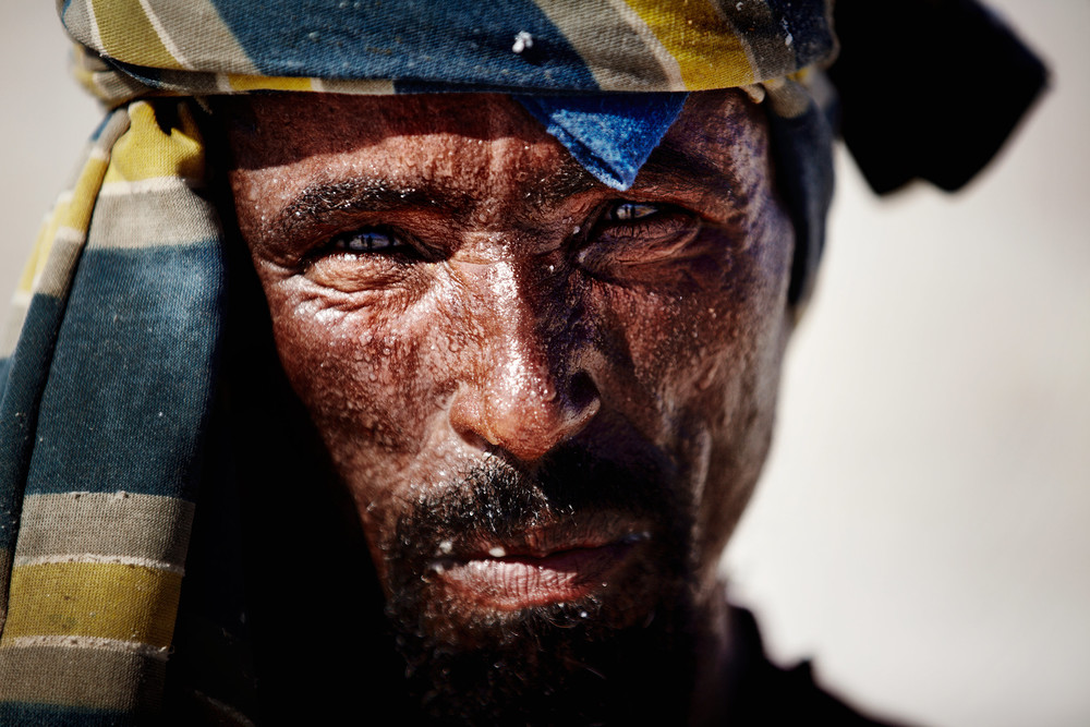 Salt-worker portrait in Danakil