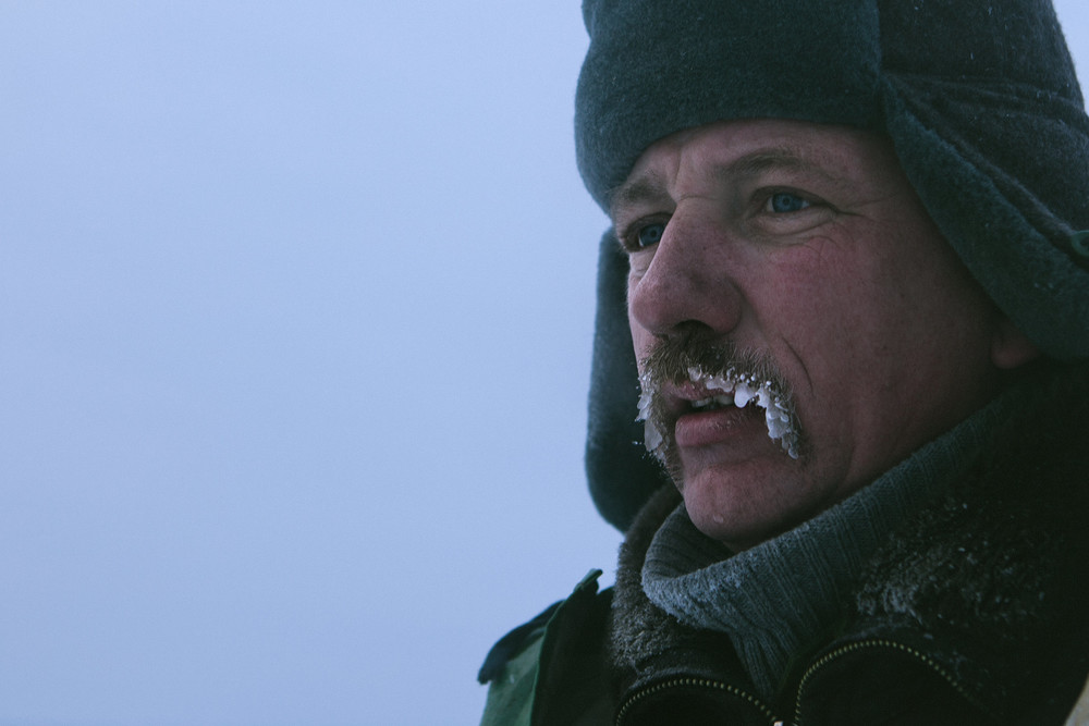 Belarusian fisherman with a frozen moustache