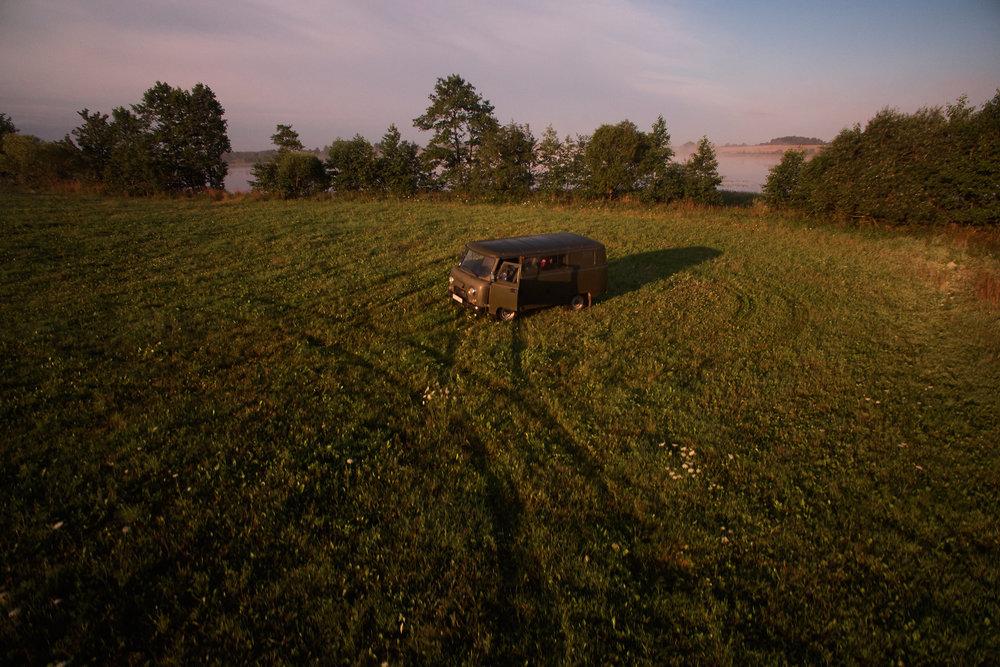 UAZ van in a field in Braslav, Belarus