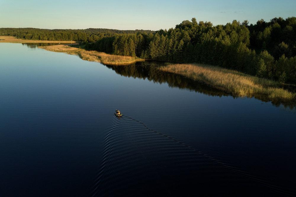 Aerial-Braslav-Belarus-Maskovichi-boat