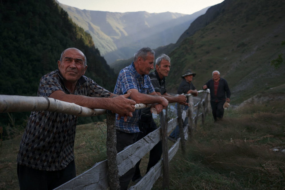 Tusheti-Georgia-village-men-wait-for-celebration