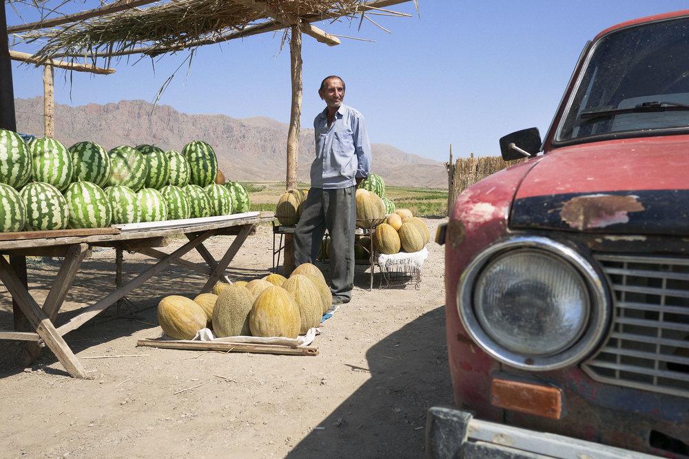Armenia-Vayots-Dzor-man-along-road-selling-watermelons