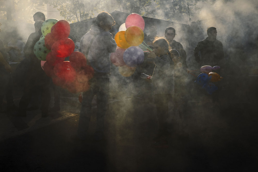Tbilisovo day balloons and smoke
