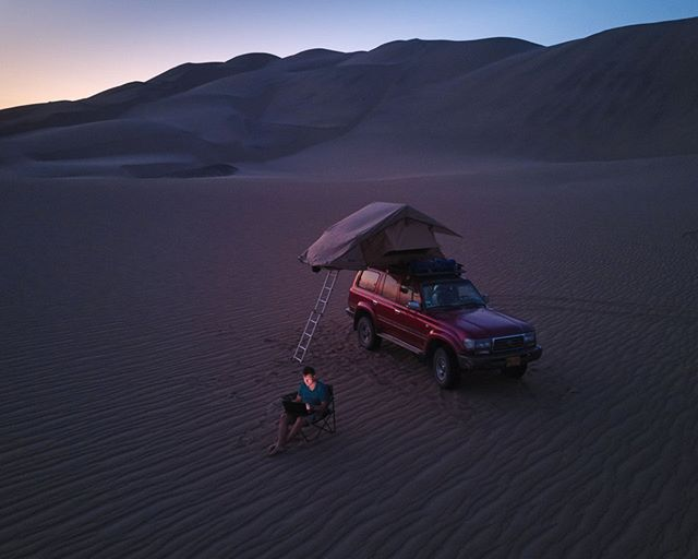 One of my favorite workplaces.  #Mavic #Peru #aerial #drone #desert #beautifulworld #lonelyplanet #dusk #goldenhour #traveltheworld #instatravel #travelling #arountheworld #traveler #travelgram #wanderlust #adventure #view #landcruiser #offroad #travelphotography #dunes