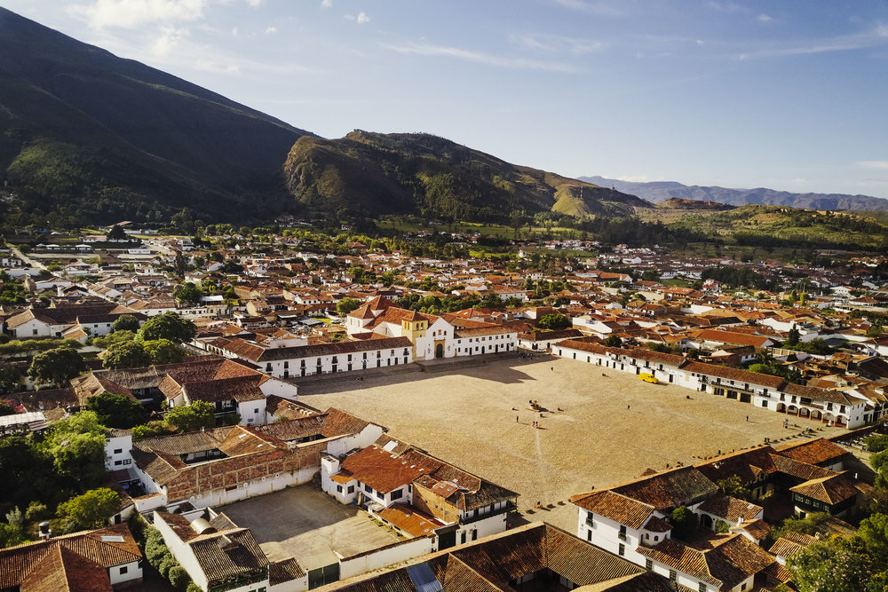 Villa De Leyva from above drone shot