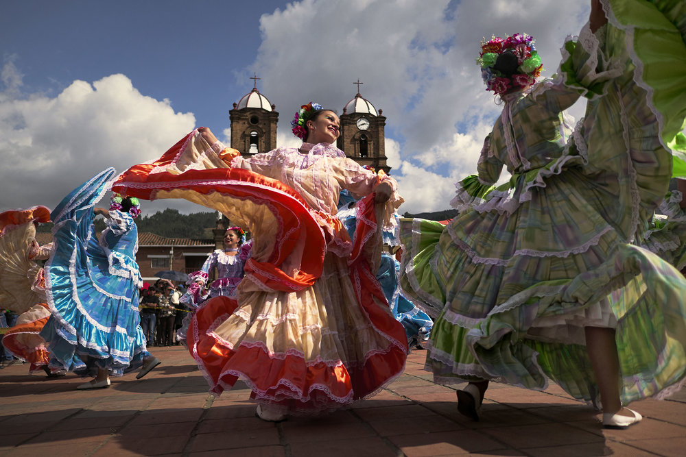 Colombian women dancing traditional dances in Mongua