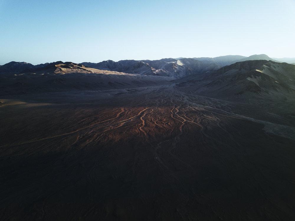 Desert landscape Peru sunrise
