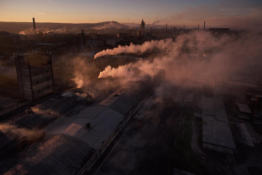 smoking Rustavi factories Georgia