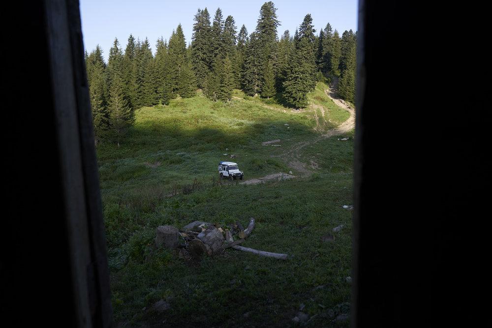 View of Landrover Defender from wooden hut, High Adjaria.JPG