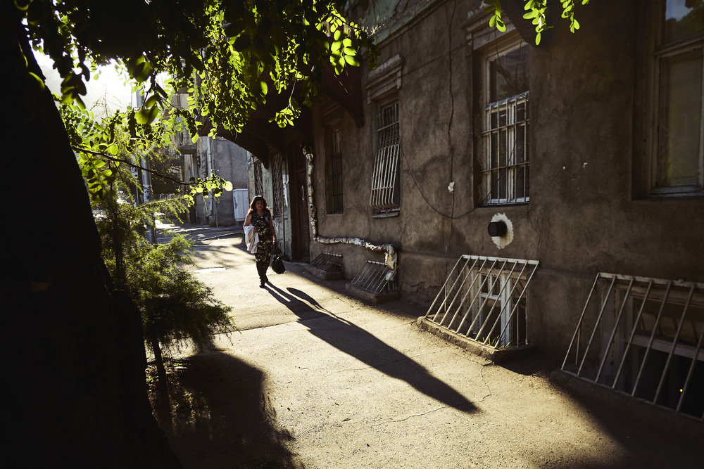 Tbilisi woman walking the streets of the old town.JPG