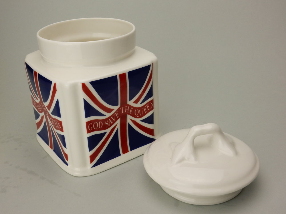 Fine Bone China storage container from Union Jack range