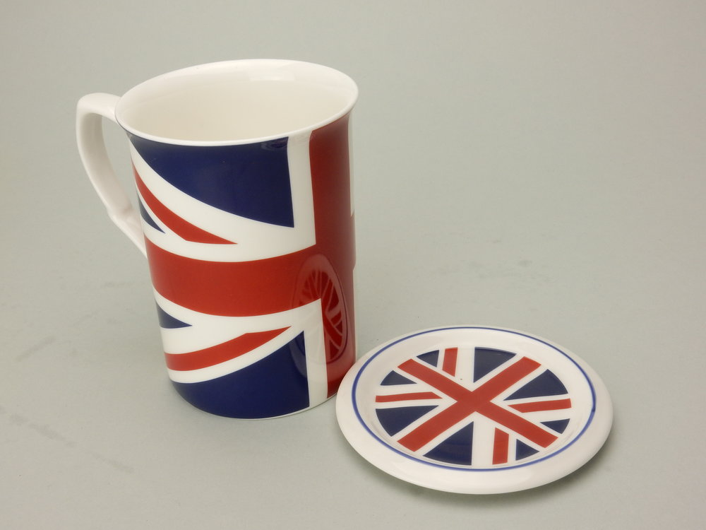 Mug with Lid in fine bone china Union Jack collection