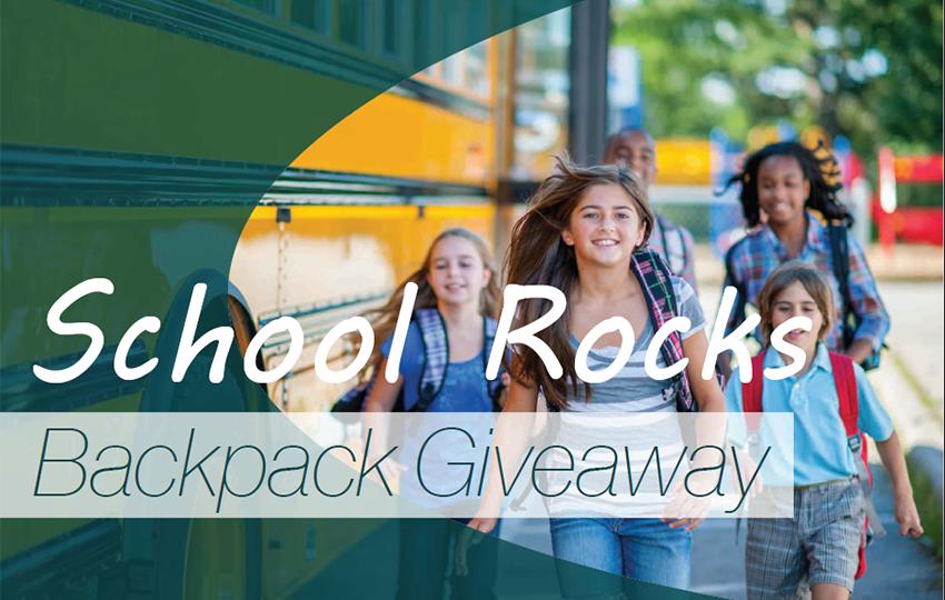 SCHOOL ROCKS BACKPACK GIVEAWAY