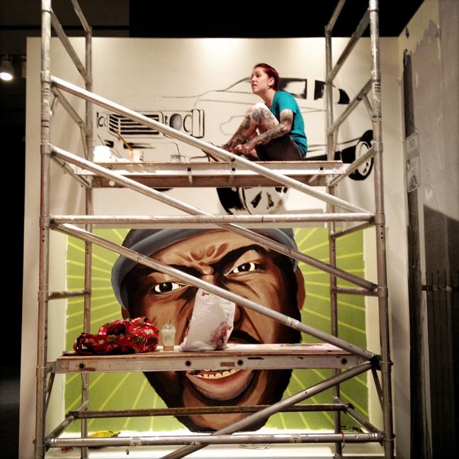 Erin painting at History Miami.