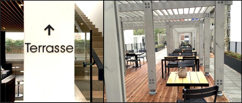 Lige ved siden af receptionen, går der en trappe op til en super flot tagterrasse. Terrassen kan bruges til det alternative møde, receptioner eller blot til at nyde en frokost. Her fortsætter det lidt hårde fabriksinspirerede design, som blødes op af en lidt urban garden stil.