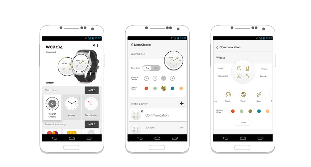 Verizon Wear24 Companion App  Company / Verizon Wireless  Companion application for Verizon smart watch, set time or location based reminders and select, customize watch face.